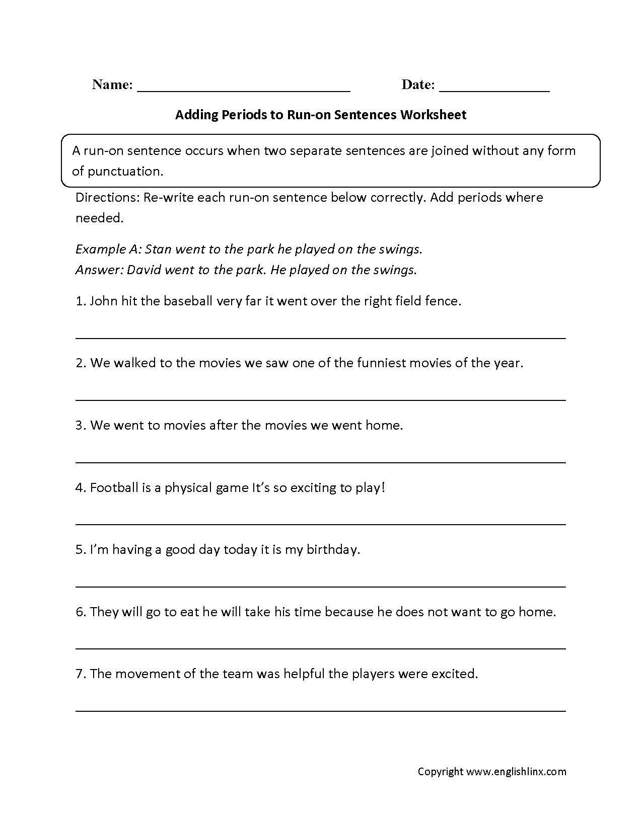 Run On Sentence Practice Worksheets The Best Worksheets Image