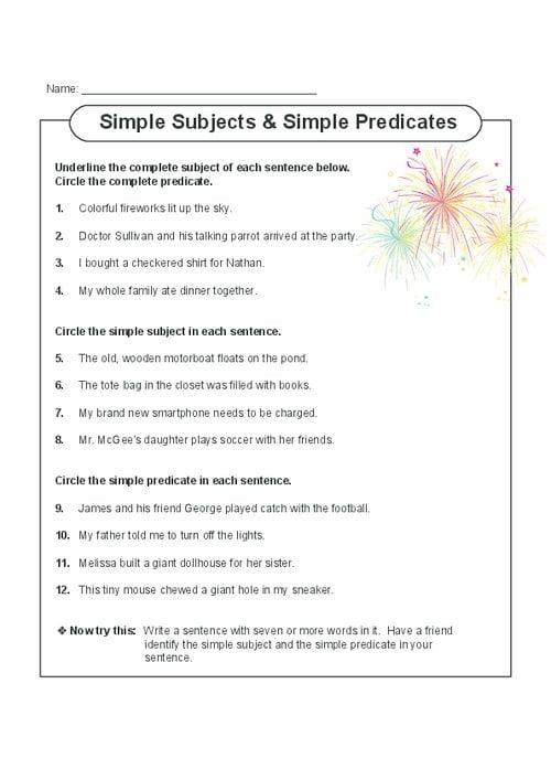Simple Predicate Worksheets 442485