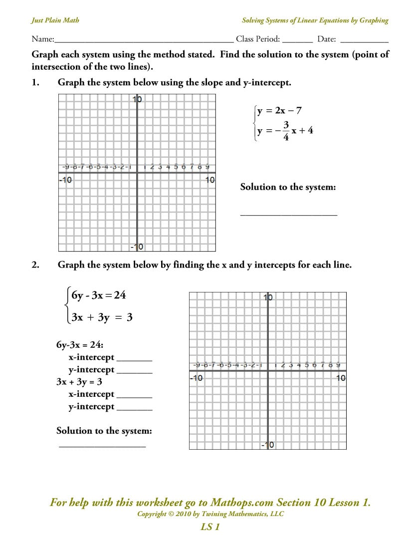 Solving Systems Of Linear Equations Algebraically Worksheet 308873