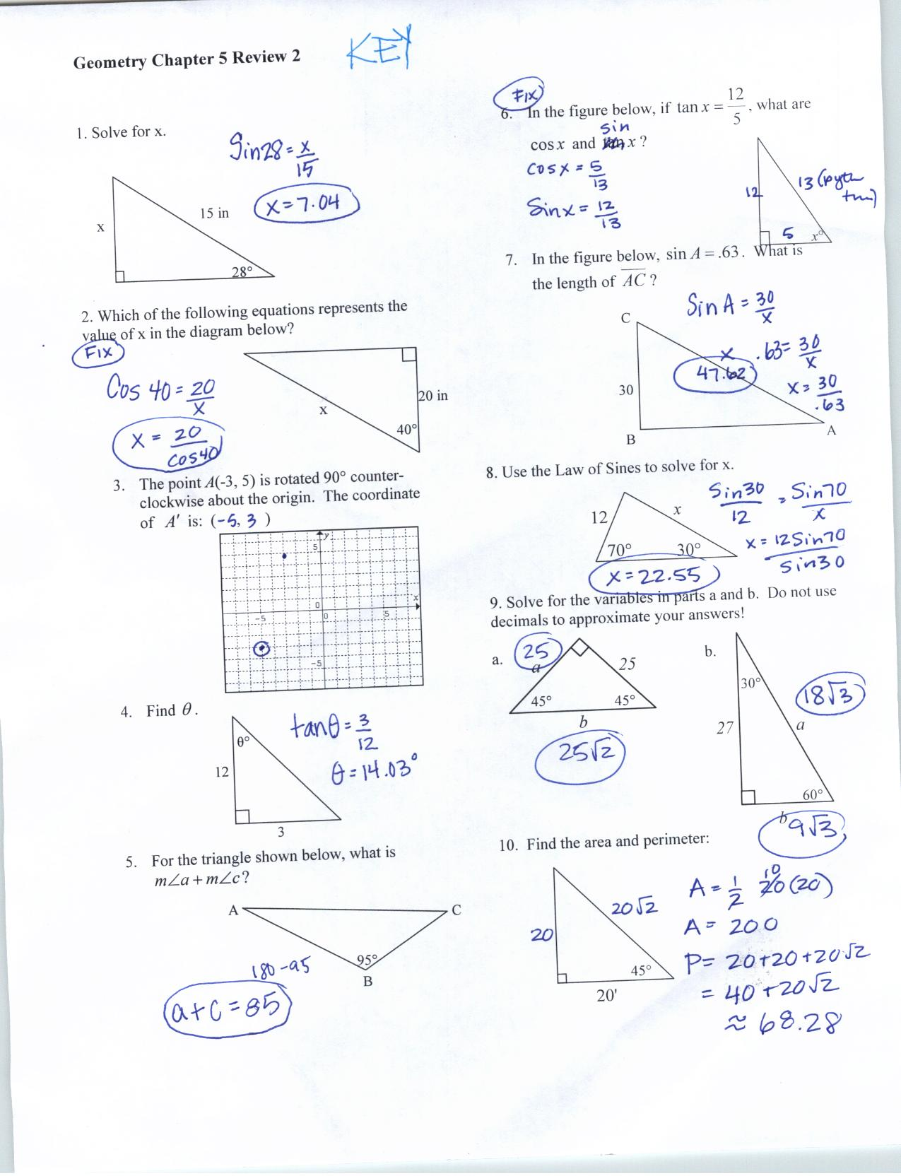 Special Right Triangles Worksheet Answer Key With Work The Best