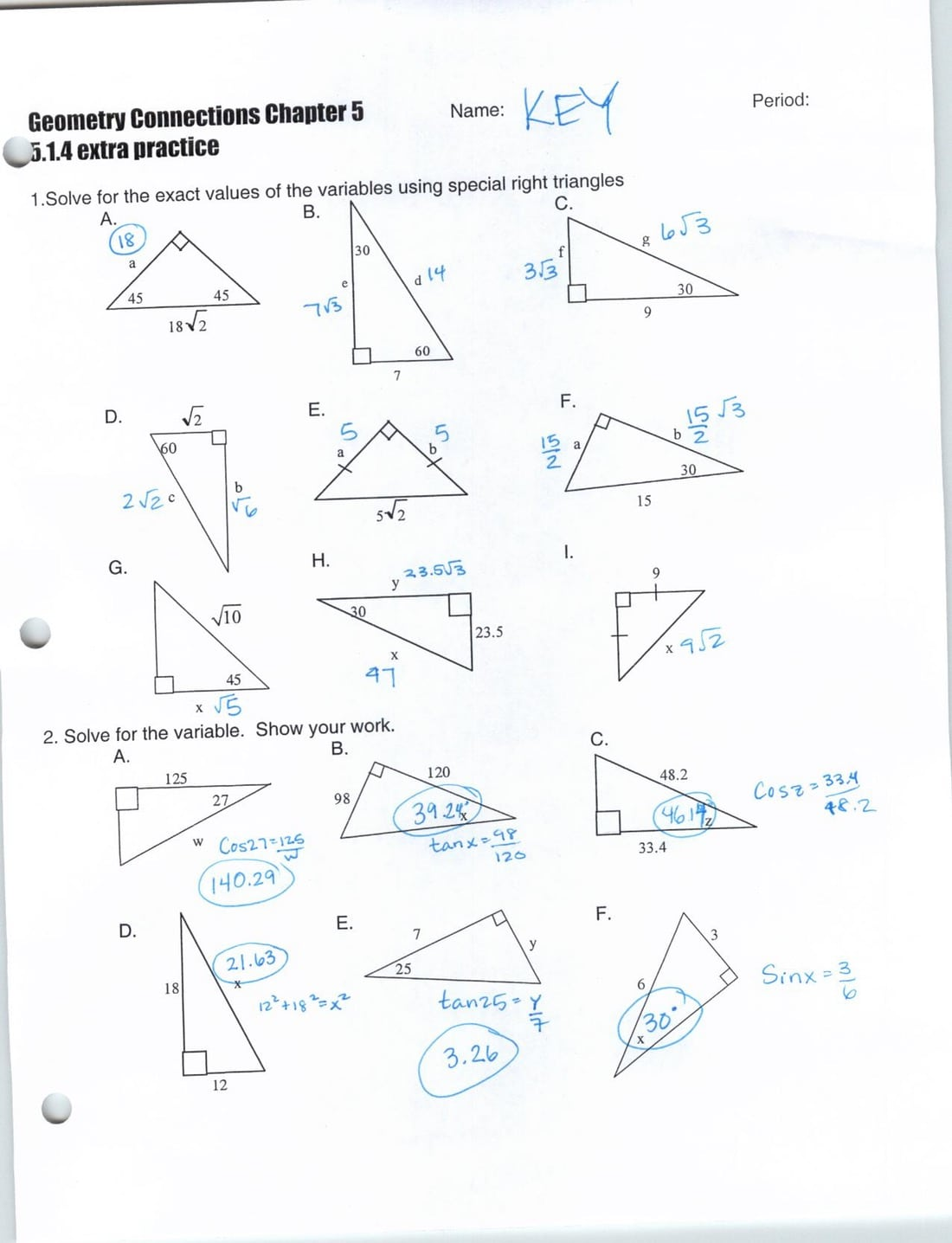 Special Right Triangles Worksheet Answers Worksheets For All