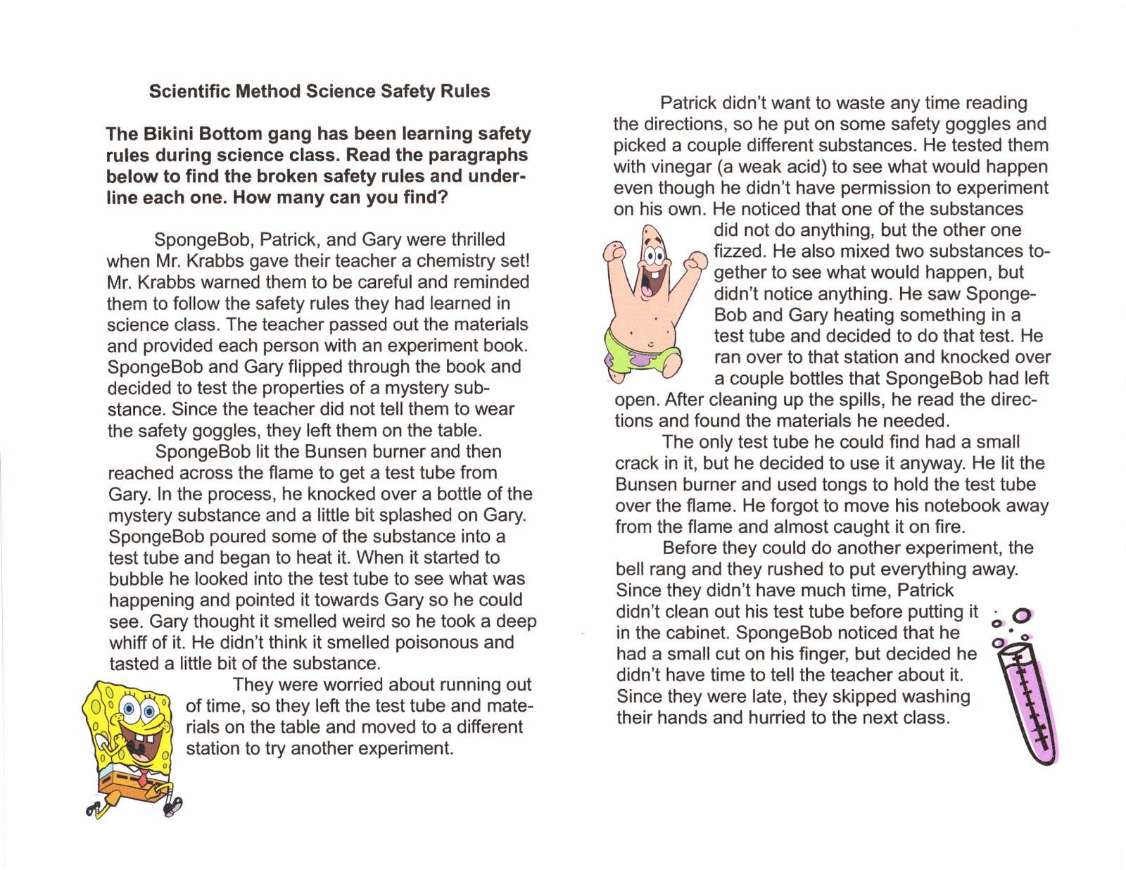 Spongebob Science Lab Safety Worksheets