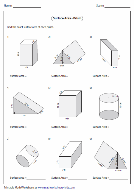 Surface Area Of Triangular Prisms Worksheet The Best Worksheets
