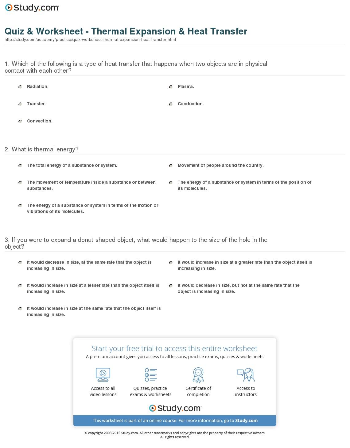 Thermal Energy Worksheet  Worksheets  Ratchasima Printable