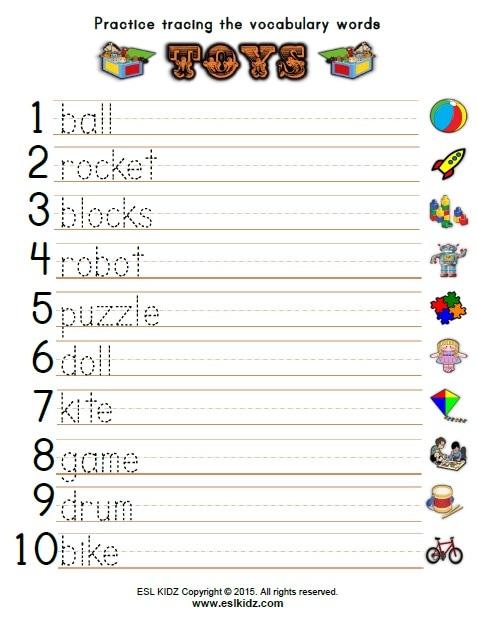 Toys Vocabulary Worksheets For Kindergarten 134418