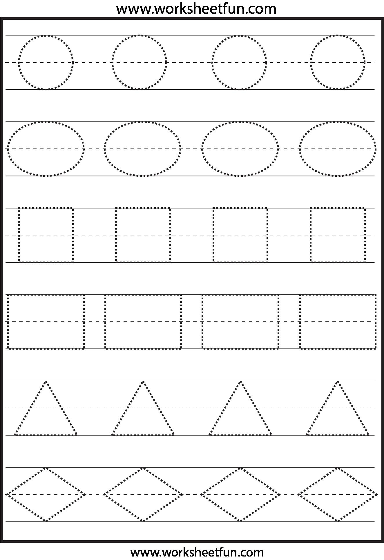 Trace Shapes Printables Preschool 370912