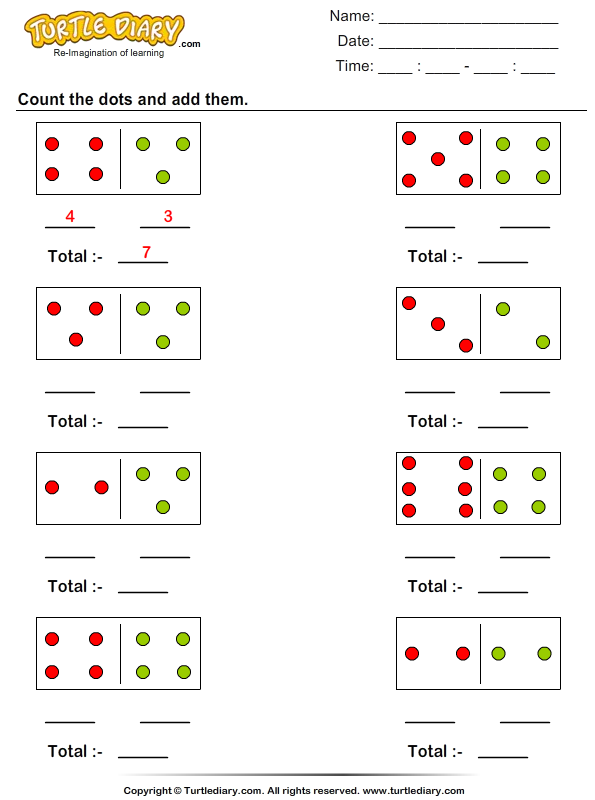 Wanted Counting Dots Worksheets Download And Print Turtle Diary S