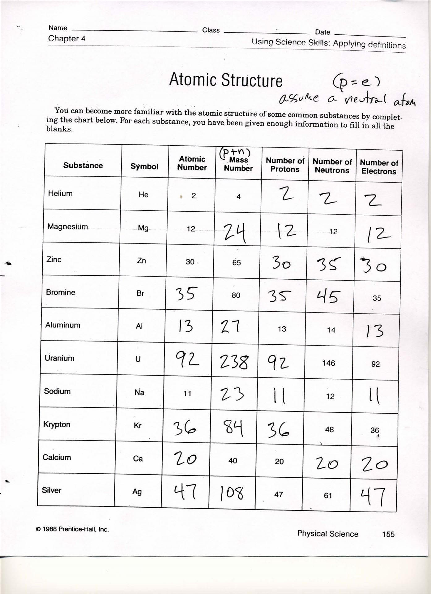 Worksheet   Atomic Structure Worksheet  1 Answer Key Atomic