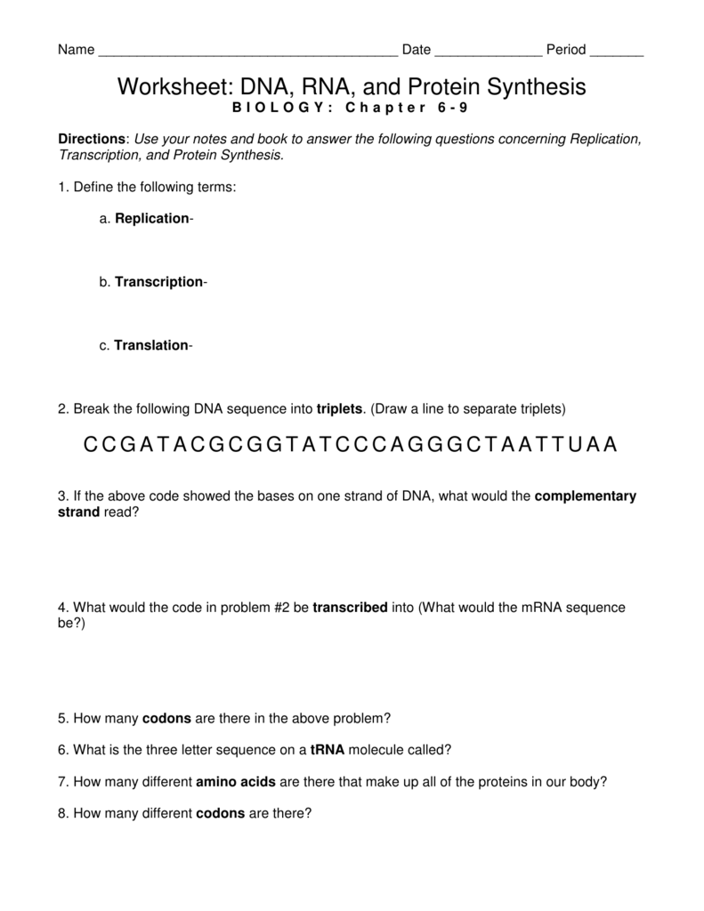 Worksheet  Dna, Rna, And Protein Synthesis
