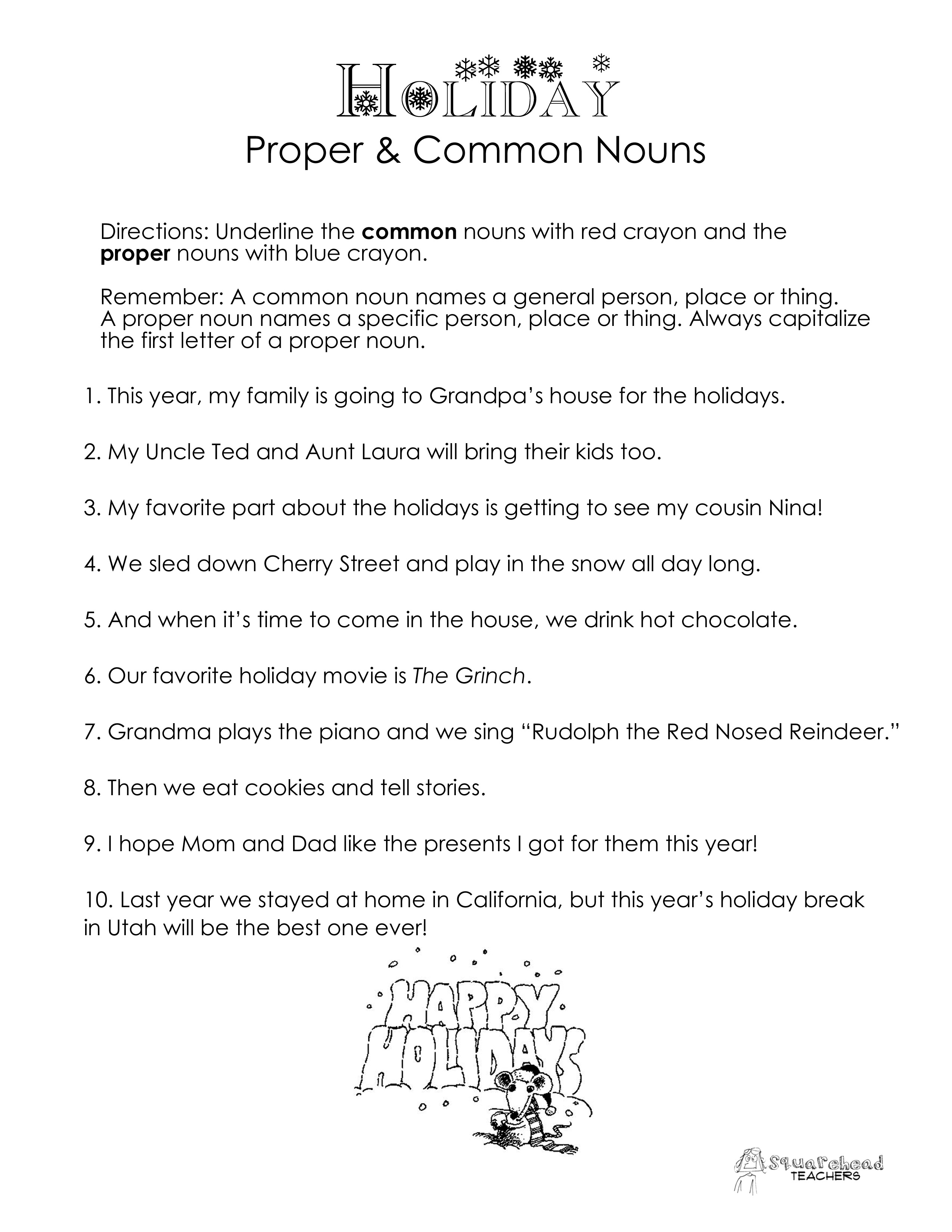 Worksheet Ideas ~ Common And Proper Nouns Worksheet Noun