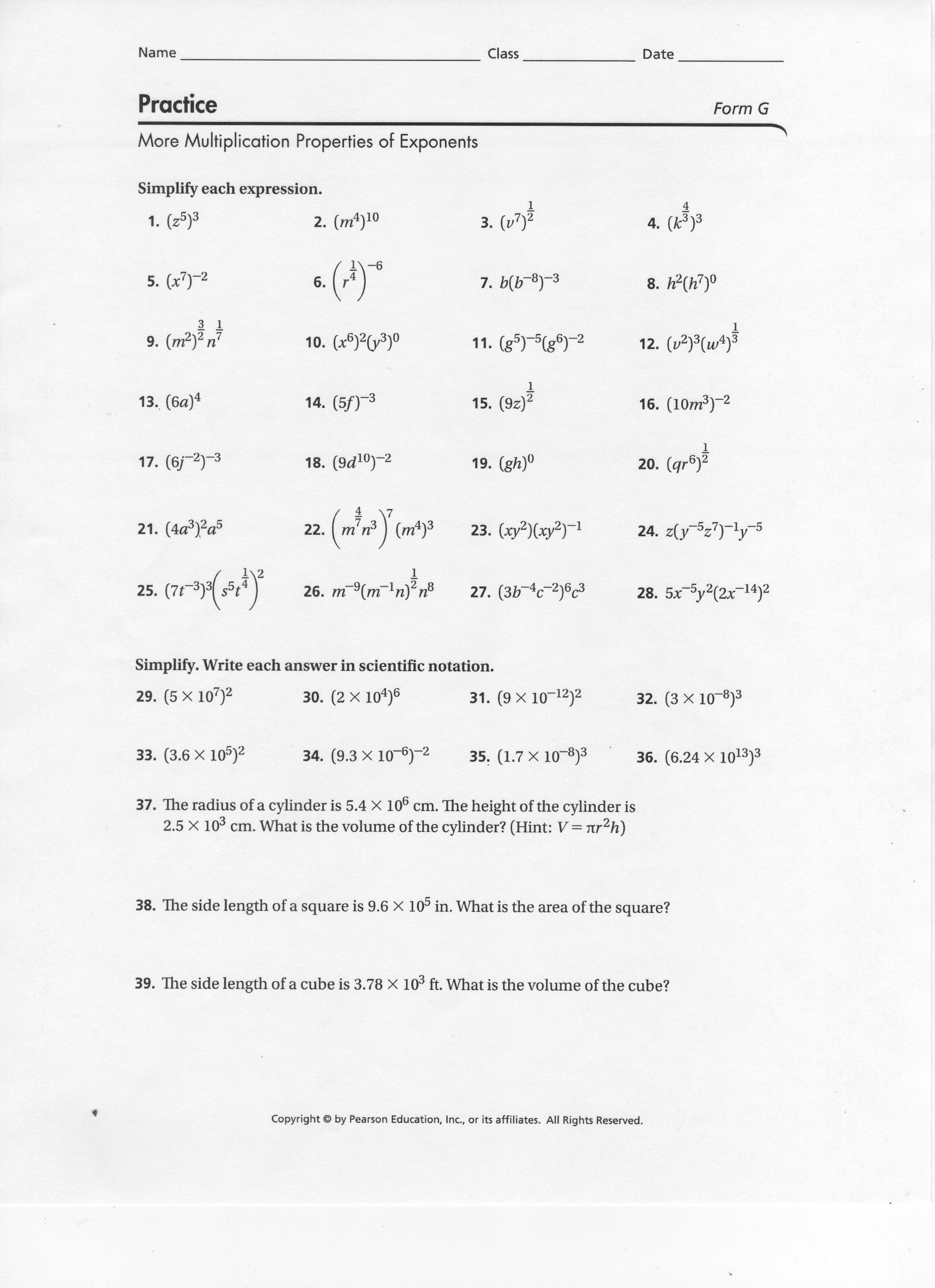 Worksheet Multiplication Properties Of Exponents
