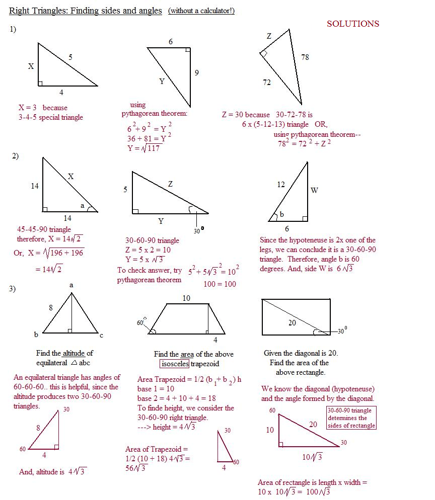Worksheet On Special Right Triangles Answers 30853