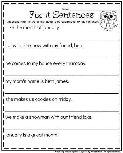 Writing Sentences Worksheets For 1st Grade 138597