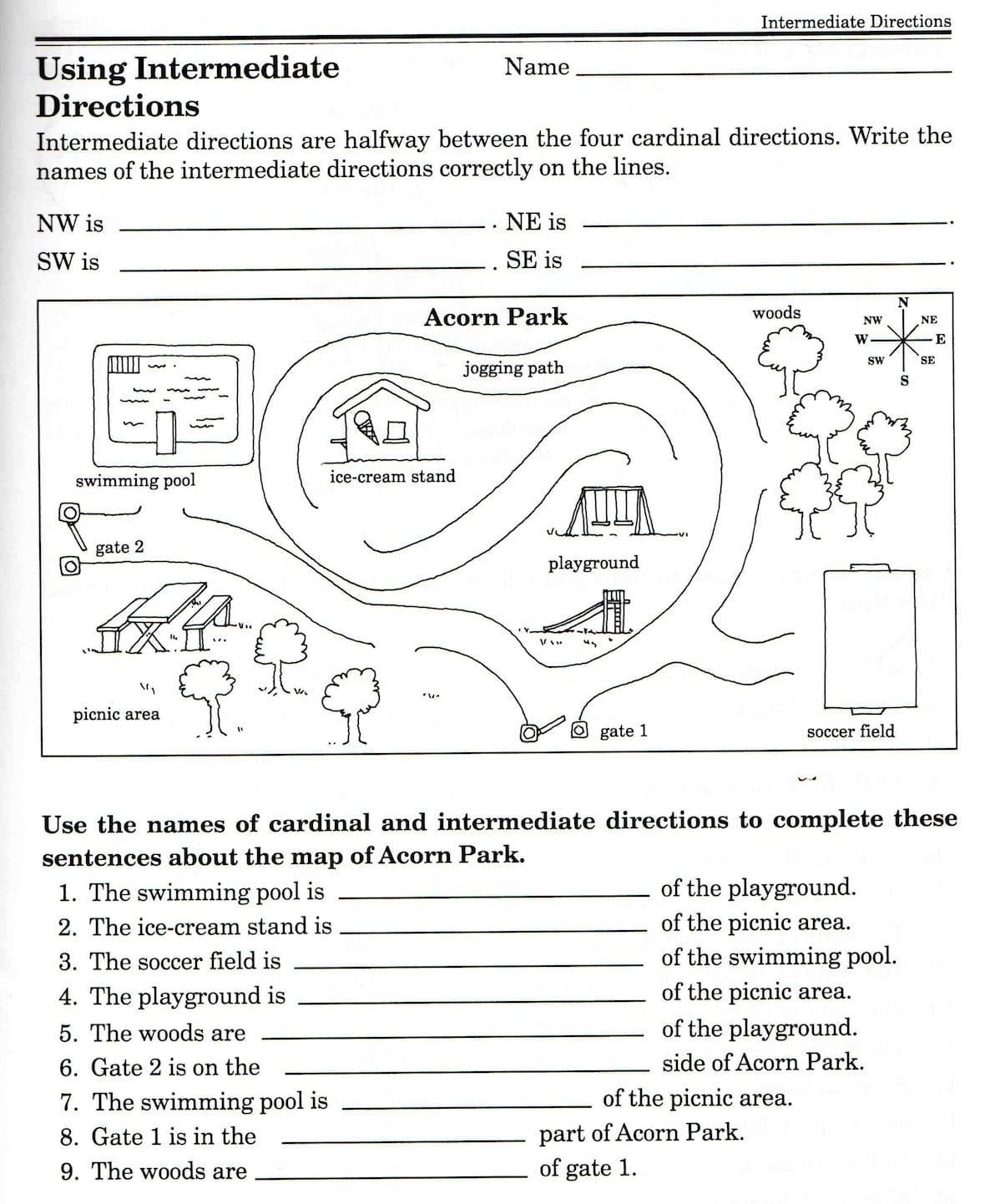 Second Grade Map Skills Worksheets Map Skills Worksheets 3rd Grade