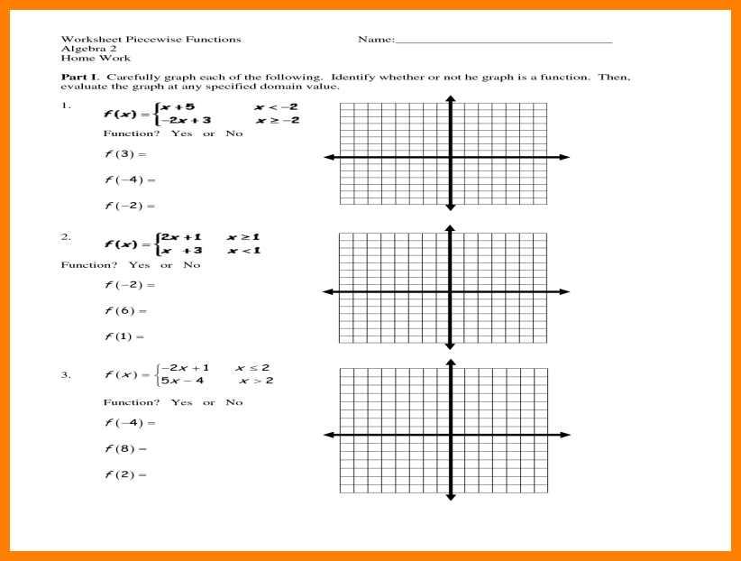 Worksheet Piecewise Functions Algebra 1