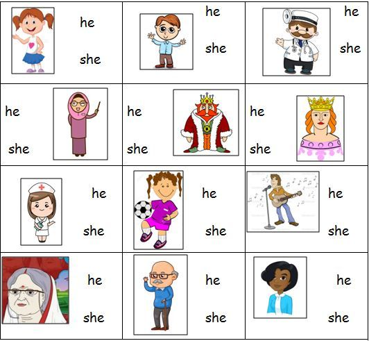 Personal Pronouns Worksheet For 'he' And 'she'