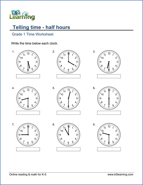 Grade 1 Telling Time Worksheet