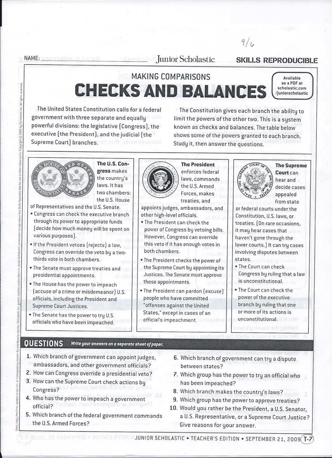 Check And Balance Worksheet