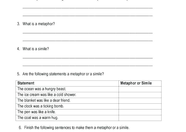 Similes And Metaphors Worksheets By The Productive Teacher