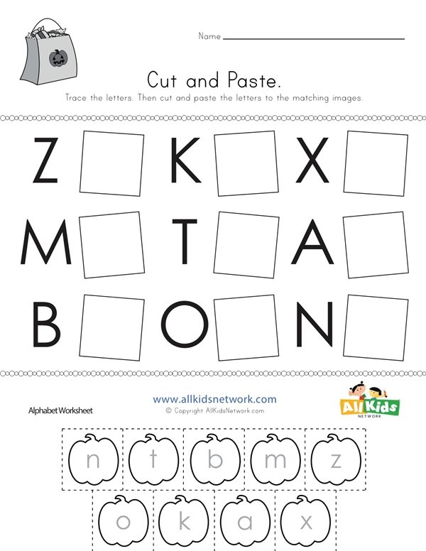 Halloween Cut And Paste Letter Matching Worksheet