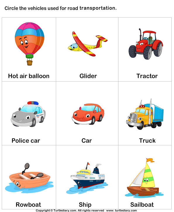 Different Means Of Transport Worksheet