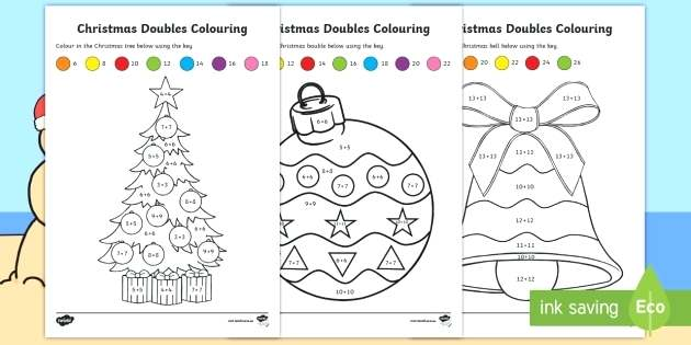 Doubles Colouring Worksheet Activity Sheets Maths Christmas Pre