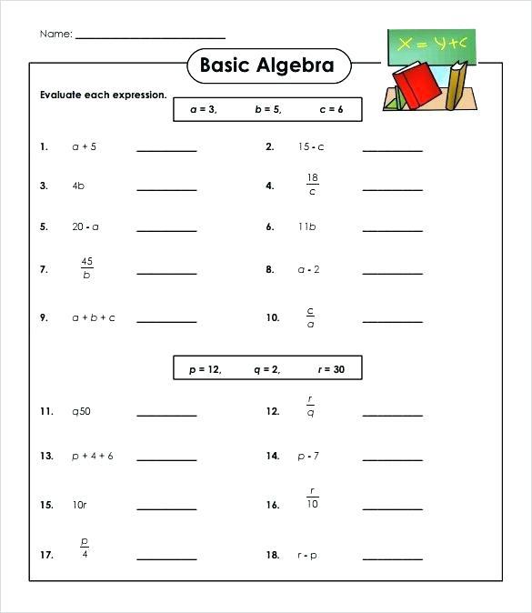 Simple Algebra Worksheet