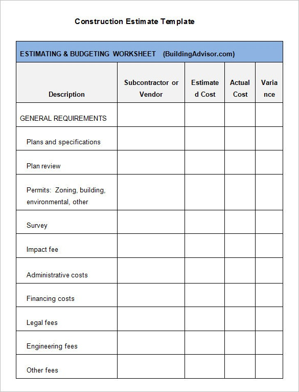 5+ Construction Estimate Templates