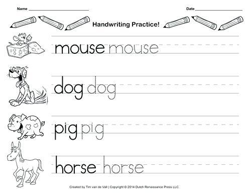 Free Kindergarten Handwriting Worksheets