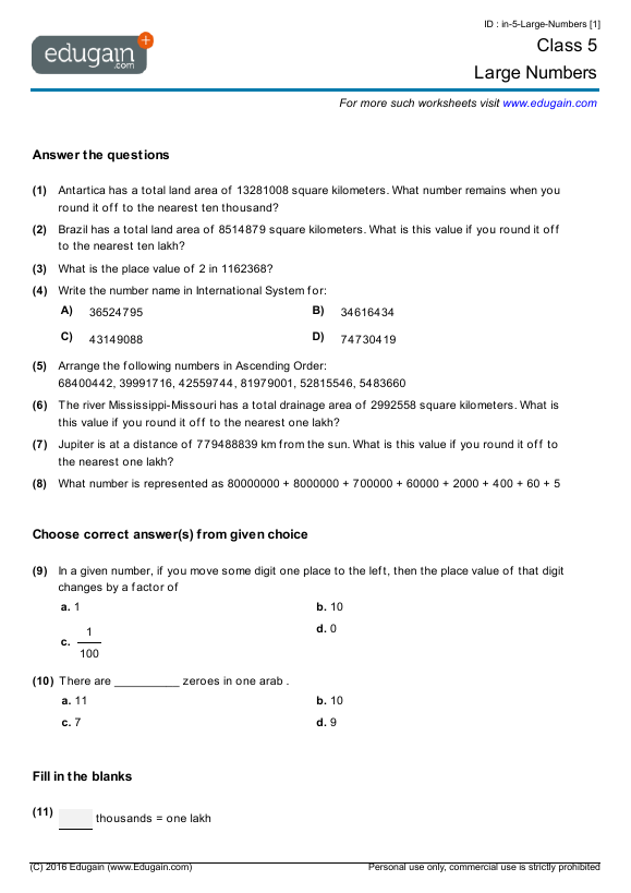 Grade 5 Math Worksheets And Problems  Large Numbers