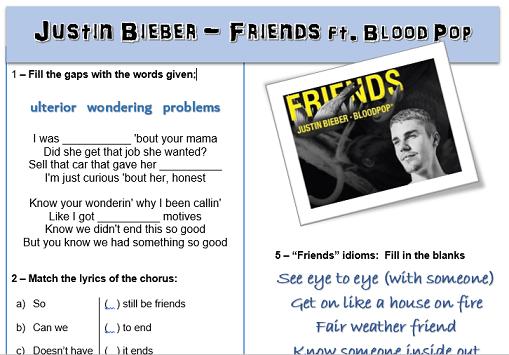 Justin Bieber   Friends  Esl Listening Worksheet Song Gap Fill