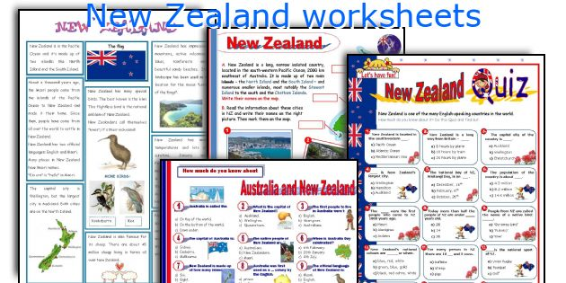 New Zealand Worksheets