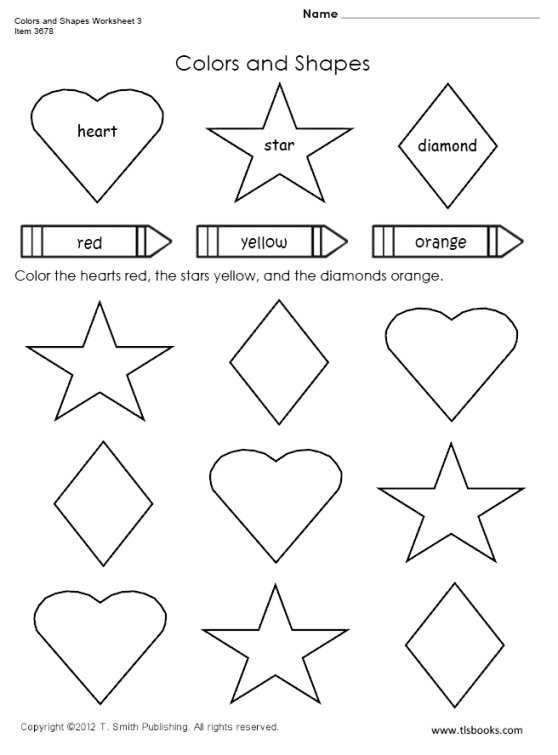 Colors And Shapes Worksheet 3