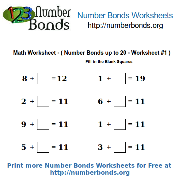 Number Bonds Math Worksheet Up To 20 Worksheet  1