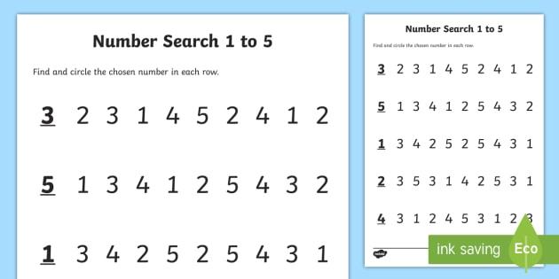 Junior Infants Number Search 1 5 Worksheet   Activity Sheet