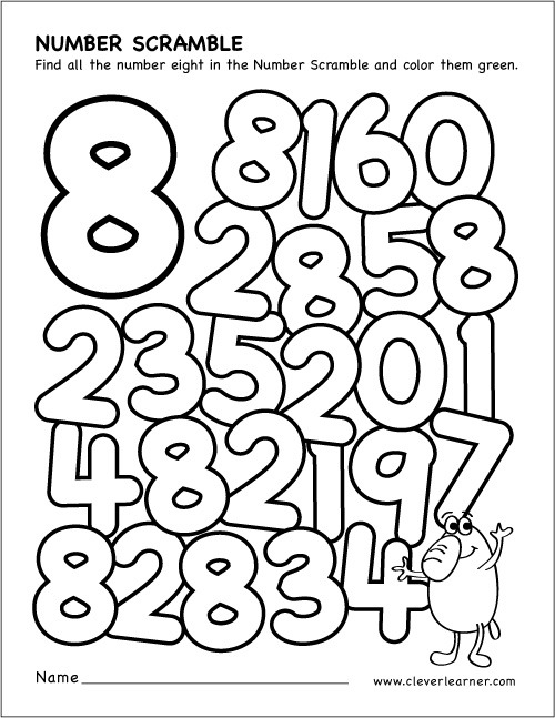 Number Scramble Activity Worksheet For Number 8 For Preschool Children