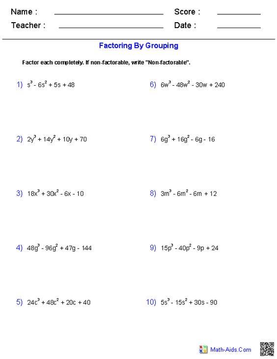 Simple Factoring Worksheet Worksheets For All