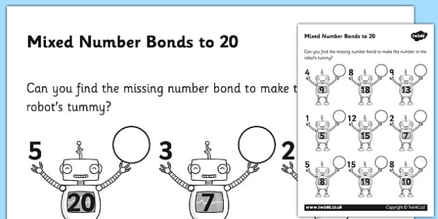 Mixed Number Bonds To 20 On Robots Worksheet   Activity Sheet