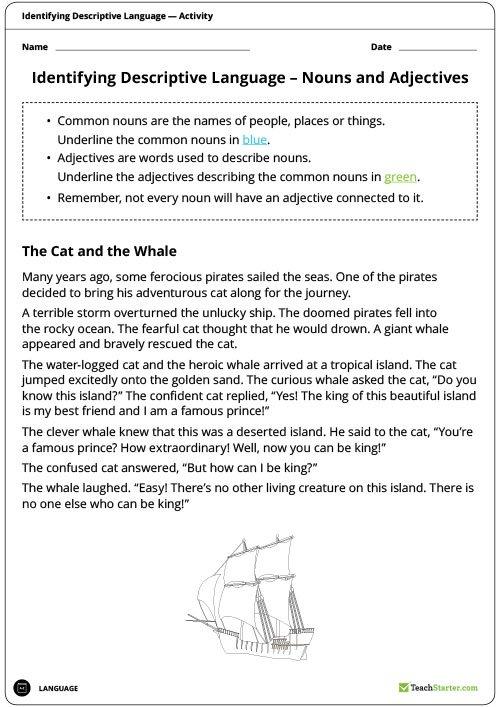 Identifying Descriptive Language Worksheets