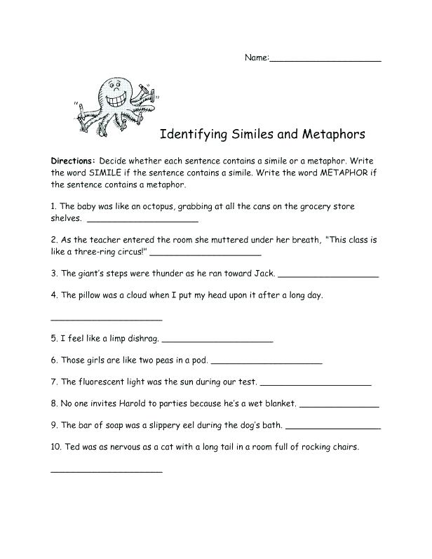 Free Simile And Metaphor Rksheets For Middle School Similes