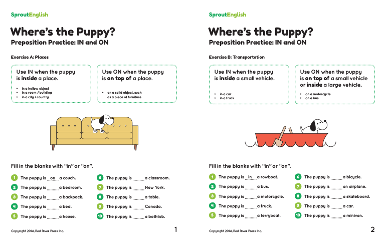 Where's The Puppy  Preposition Practice For In And On