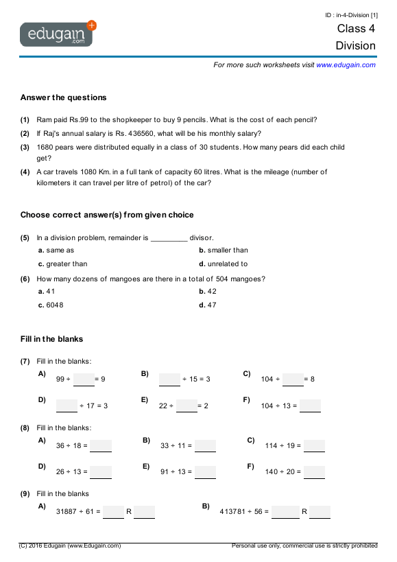 Grade 4 Math Worksheets And Problems  Division