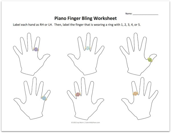 Freebie  Piano Finger Bling Worksheets