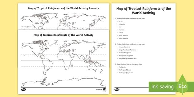 Tropical Rainforests World Map Worksheet   Worksheets
