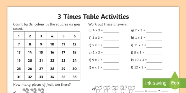 3 Times Table Worksheet   Worksheet