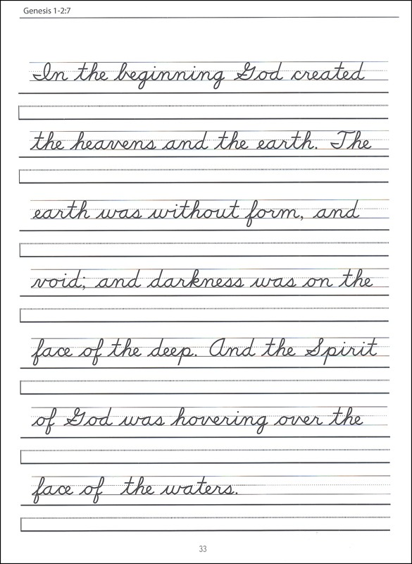 Scripture Character Writing Worksheets D'nealian Beginning Cursive