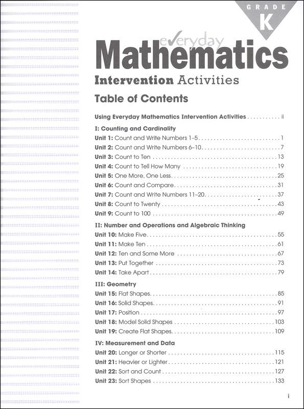 Everyday Mathematics Intervention Activities Kindergarten, Newmark