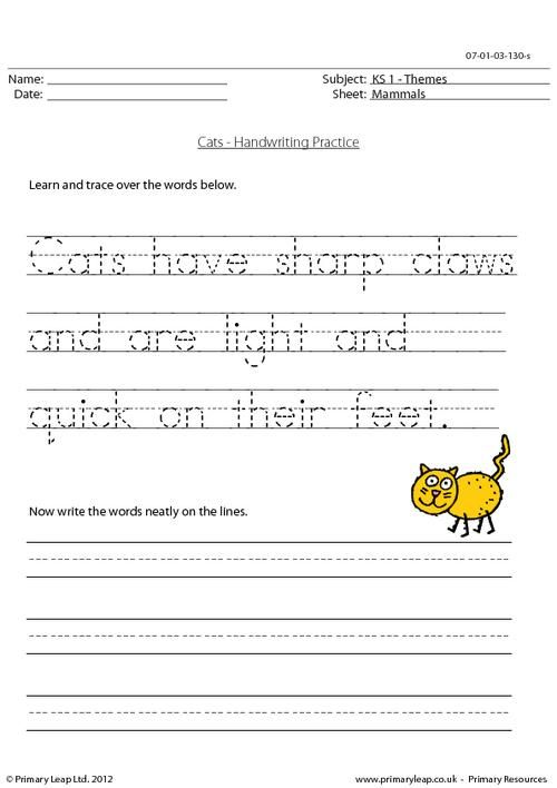 Handwriting Practice Worksheet For Ks1 Pupils  Trace Over The
