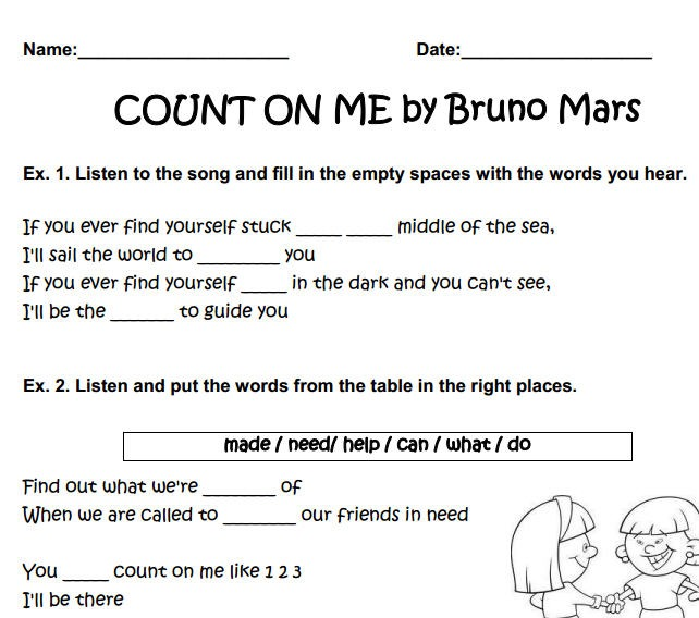 Song Worksheet  Count On Me By Bruno Mars