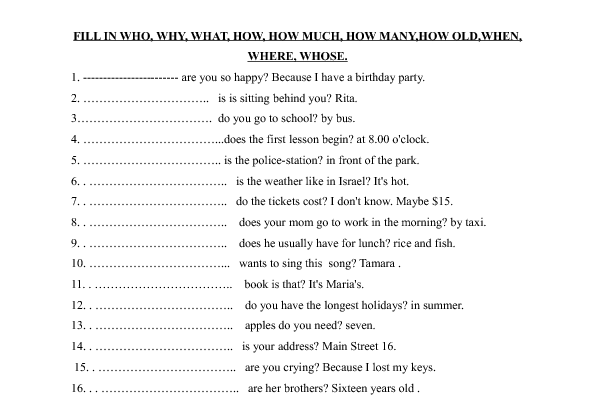 Questions Words Worksheet